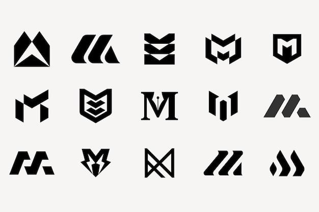 Lettera m logotipo set modello di raccolta