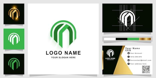 Modello di logo monogramma lettera m o mm con design biglietto da visita