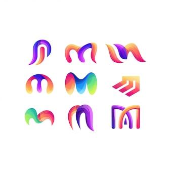 Lettera m set logo a colori sfumati