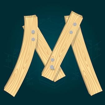 Lettera m - carattere vettoriale stilizzato realizzato con assi di legno martellate con chiodi di ferro.