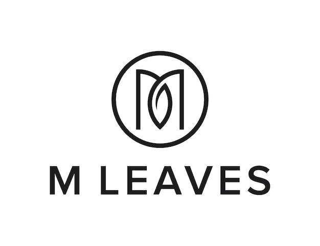 Lettera m con foglia e cerchio contorno semplice design creativo geometrico elegante moderno logo