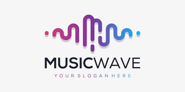 Lettera m con impulso. elemento del lettore musicale. logo modello musica elettronica, equalizzatore, negozio, dj, nightclub, discoteca. concetto di logo audio wave,