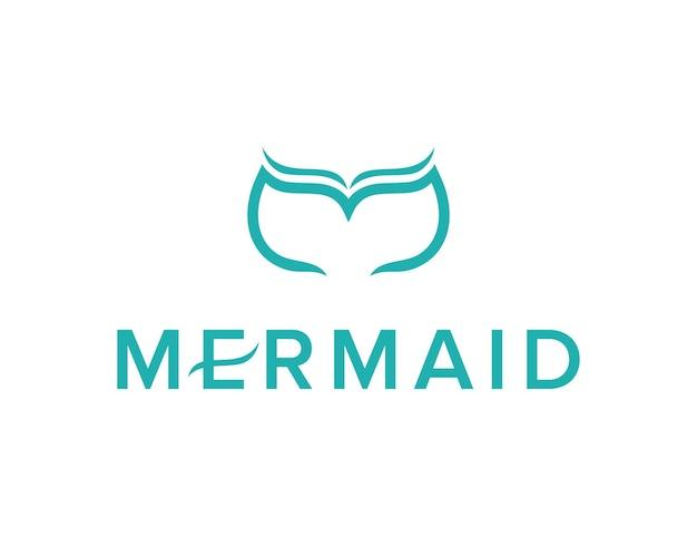 Lettera m con sirena coda di balena semplice elegante design geometrico moderno creativo logo