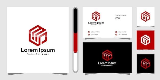 Lettera mp logo design e biglietto da visita