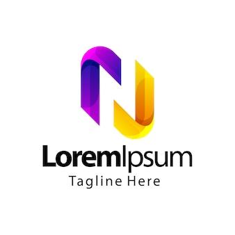 Disegno del logo gradiente lettera n