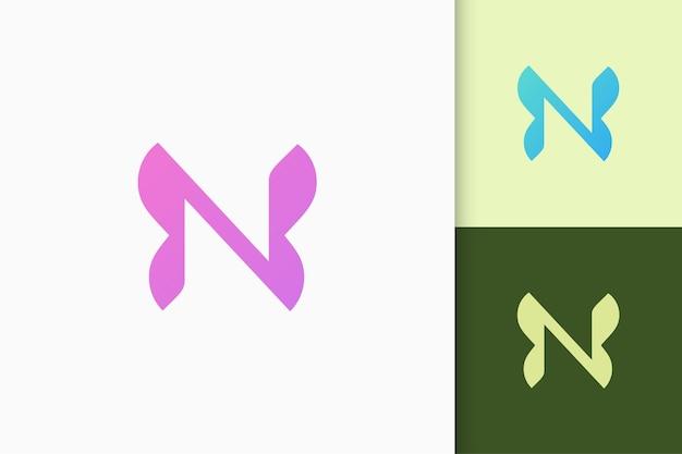 Logo delle iniziali della lettera n in modo semplice e moderno