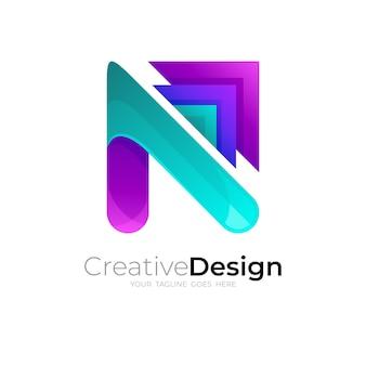 Lettera n logo e combinazione di design freccia, loghi colorati 3d