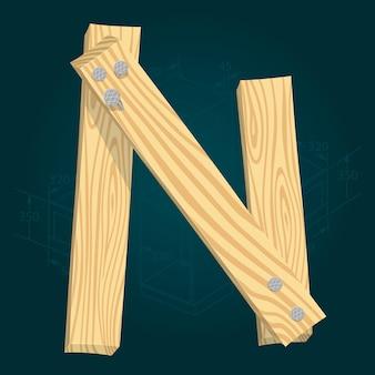 Lettera n - carattere vettoriale stilizzato realizzato con assi di legno martellate con chiodi di ferro.