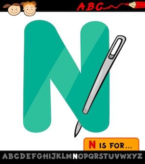 Lettera n con l'illustrazione del fumetto dell'ago
