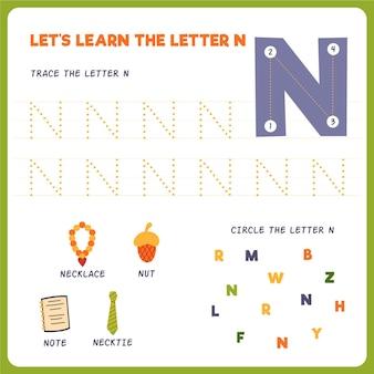 Foglio di lavoro lettera n per bambini