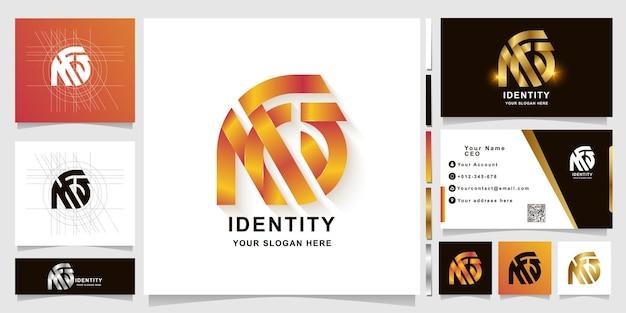Modello di logo monogramma lettera nfs o na con design biglietto da visita