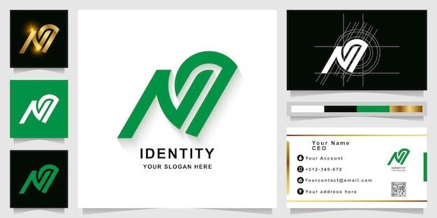 Modello di logo monogramma lettera nq o na con design biglietto da visita