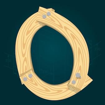 Lettera o - carattere vettoriale stilizzato realizzato con assi di legno martellate con chiodi di ferro.
