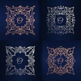 Lettera o con modello di logo cornice floreale