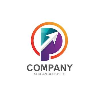 Lettera p freccia logo design