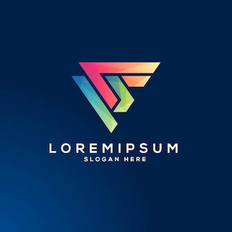 Modello creativo di logo di concetto di forma fisica di sport del pf della lettera