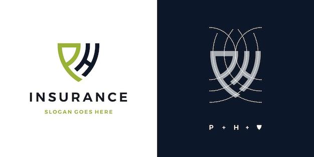 Lettera p + h logo assicurazione scudo