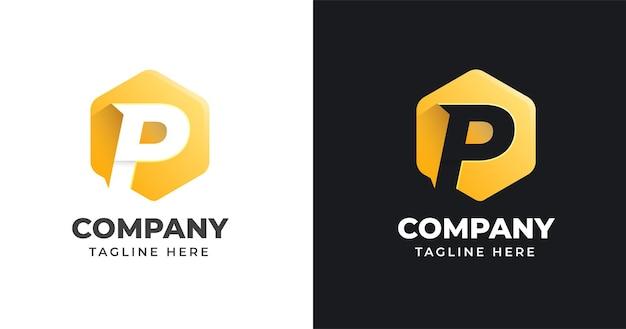 Modello di progettazione di logo di lettera p con stile di forma geometrica