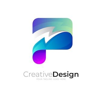 Logo della lettera p e combinazione di design del tuono