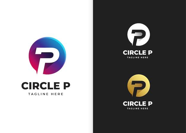 Lettera p logo illustrazione vettoriale con design a forma di cerchio