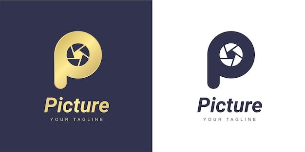 Marchio della lettera p con una fotocamera minimalista e un concetto di fotografia