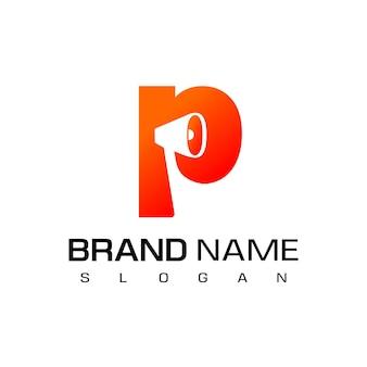 Lettera p, design del logo dell'altoparlante per il simbolo della società pubblicitaria;