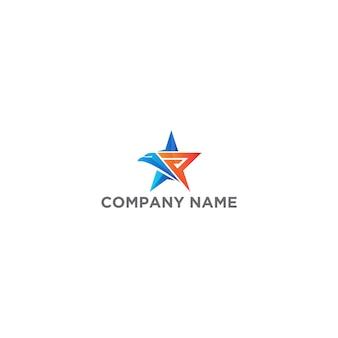 Lettera p star eagle logo design