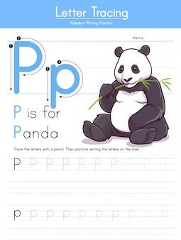 Lettera p tracciamento alfabeto animale p per panda