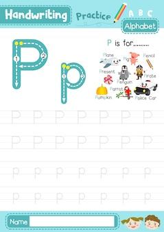 Foglio di lavoro per la pratica della tracciatura maiuscola e minuscola della lettera p.