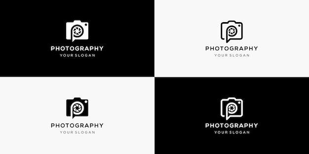 Lettera p con design del logo della fotocamera
