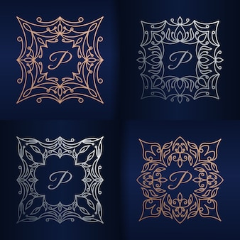 Lettera p con modello di logo cornice floreale