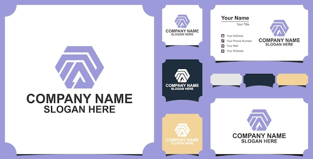 Lettera pa esagono logo design element con biglietto da visita premium