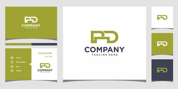 Lettera pd logo design e biglietto da visita vettore premium