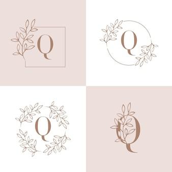 Lettera q logo design con elemento foglia di orchidea