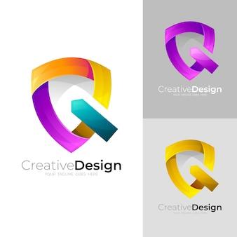 Logo della lettera q con azienda di design scudo, 3d colorato