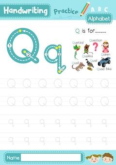 Foglio di lavoro per la pratica di tracciamento maiuscolo e minuscolo della lettera q.