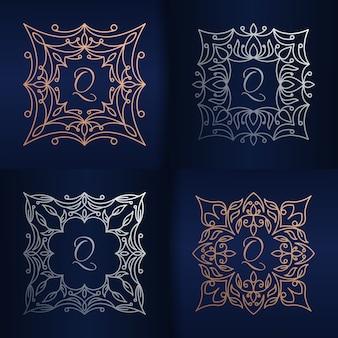 Lettera q con modello di logo cornice floreale