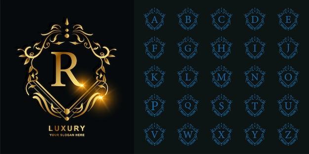 Lettera r o alfabeto iniziale di raccolta con modello di logo dorato cornice floreale ornamento di lusso.