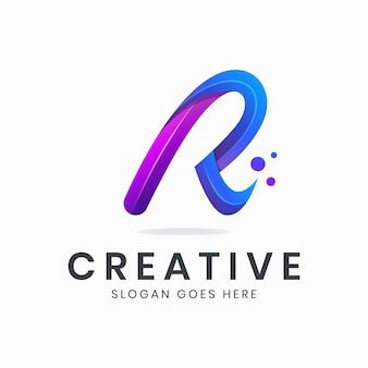 Modello di logo sfumato lettera r