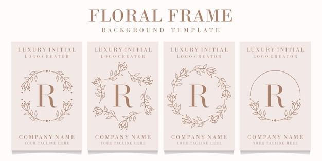 Disegno di marchio della lettera r con modello di cornice floreale