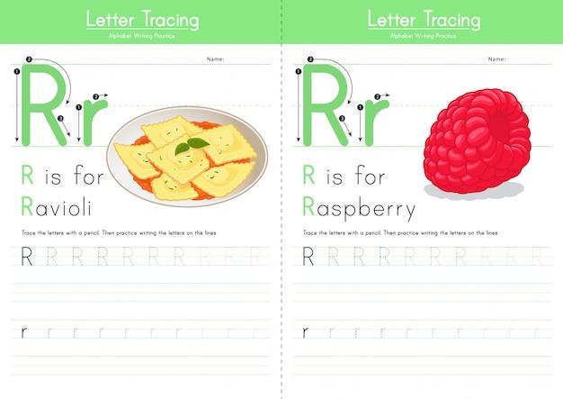 Lettera r alfabeto alimentare di tracciamento