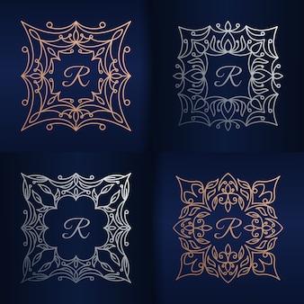 Lettera r con modello di logo cornice floreale