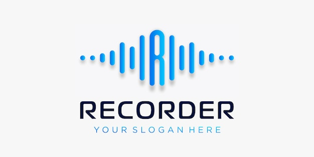 Lettera r con motivo logo pulsato. elemento del registratore. logo modello musica elettronica, equalizzatore, negozio, musica per dj, discoteca, discoteca. concetto di logo audio wave, tecnologia multimediale a tema, forma astratta.