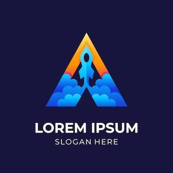 Lettera a logo a razzo, lettera a e razzo, logo combinato con stile di colore blu e arancione