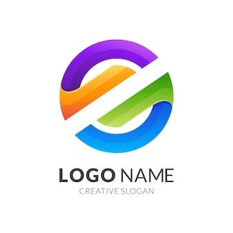 Concetto di logo lettera se cerchio, stile logo moderno in colori vivaci sfumati