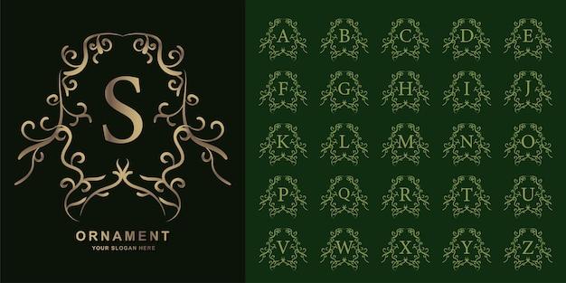 Lettera s o alfabeto iniziale di raccolta con modello di logo dorato cornice floreale ornamento di lusso.