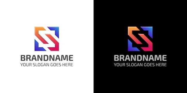 Modello di logo quadrato astratto colorato di lettera s