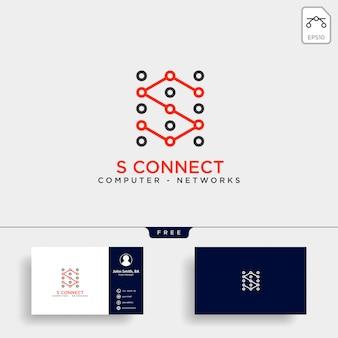 Modello di logo della rete di tecnologia digitale di lettera s Vettore Premium