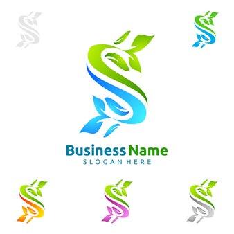 Logo dell'albero verde della lettera s con il concetto della foglia di ecologia