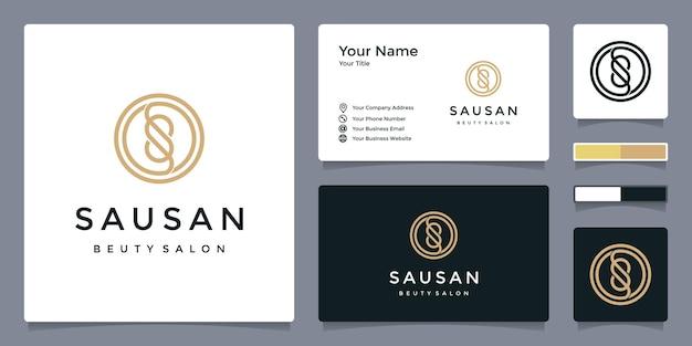 Logo della lettera s per bellezza e salone con modello di biglietto da visita